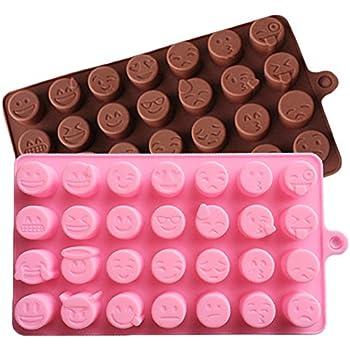 JLHua 28-cavity Emoji Emotion Cake Mold Smiley Chocolate Candy Baking Mould Chocolate+Pink, 2 Pack