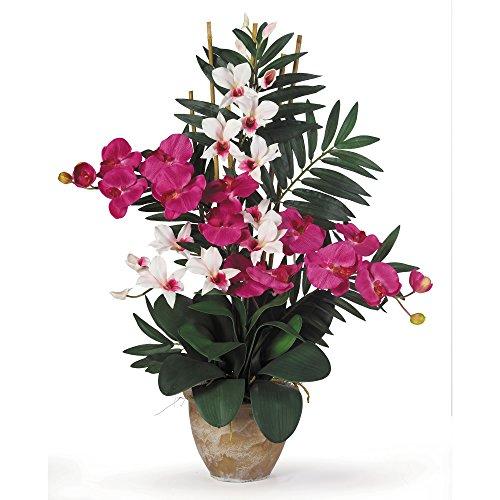 GREATHOPES Double Phal/Dendrobium Silk Flower Arrangement Beauty/White Home Decoration Flowers ()