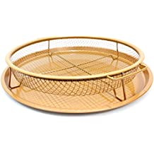 """Copper Ceramic Crisping Tray, 12"""" Wide, Try in NuWave or other Compact Oven! Air Fryer to Make Crisper Personal Pan Pizza, Fries, Wings & More, Non-Stick, Dishwasher Safe."""