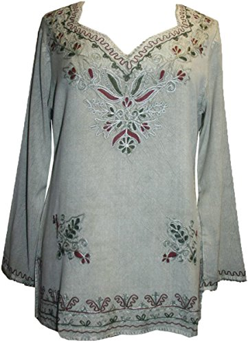 720 B Medieval Renaissance Embroidered Top Blouse [ Medium, Sea - Green Top Sea Embroidered