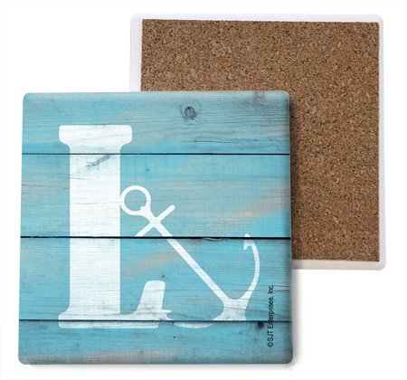 SJT ENTERPRISES, INC. Initial/Letter Lake and Beach Themed Coasters -L Absorbent Stone Coasters, 4-inch (4-Pack) (SJT96873) ()