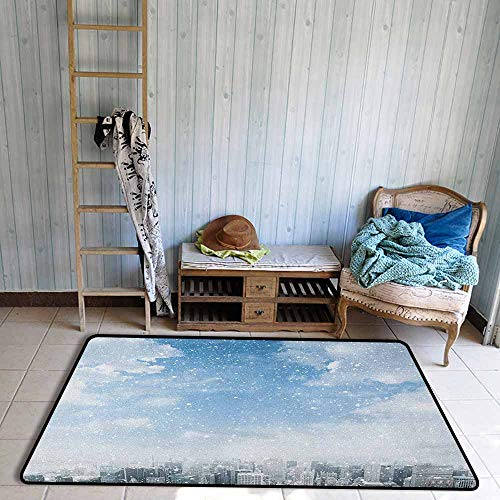 Large Door mat,Winter Snow Falling Down on New York City Urban Life Skyscrapers Streets Cold Weather,Anti-Slip Doormat Footpad Machine Washable,4'11