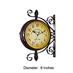 Homello Wrought Iron Vintage-inspired Rotatable Double Sided Wall Clock - Double Faced Train Station Style Round Chandelier Wall Hanging Metal Clock Home Décor Wall Clock Art Clock 360 Degree Rotation