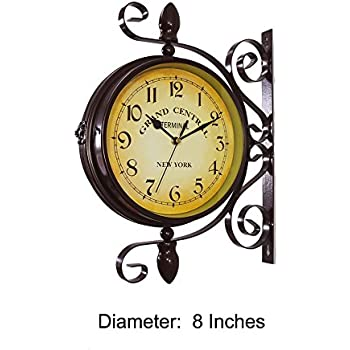 Amazon.com: Vintage Style 2 Sided Outdoor Thermometer Wall Clock ...