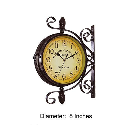 Homello Wrought Iron Vintage-inspired Rotatable Double Sided Wall Clock - Double Faced Train Station Style Round Chandelier Wall Hanging Metal Clock Home Décor Wall Clock Art Clock 360 Degree Rotation (Central Clock Station)