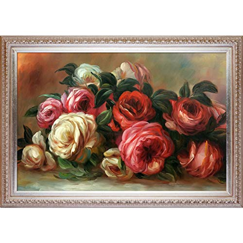 La Pastiche OverstockArt Renoir Discarded Roses with Elegant Wood Frame, Champagne Finish