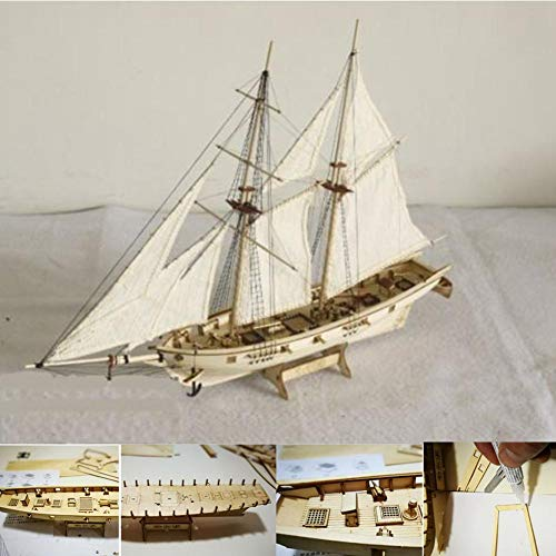 Pawaca DIY Sailing Ship Model Kits,Wooden Sailboat to Build Decor,Assembling Building Sailing Boat Kits for Kids and Adults,1840 Sailboat Toy Gift 1:130 300x400mm -