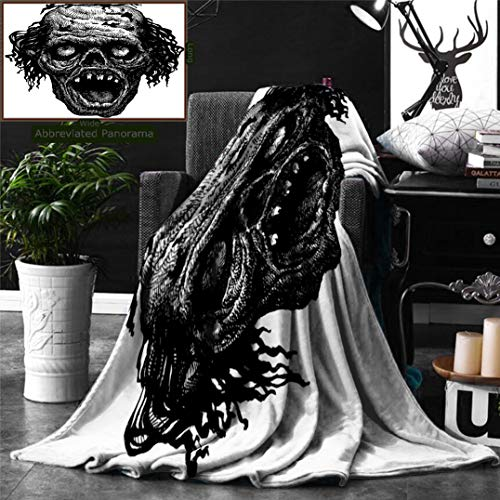 Unique Custom Digital Print Flannel Blankets Halloween Zombie Head Evil Dead Man Portrait Fiction Creature Scary Monster Graphic Bl Super Soft Blanketry for Bed Couch, Twin Size 70 x 60 Inches -