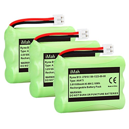 iMah 89-1323-00-00 Battery Pack Compatible with AT&T 27910 Motorola SD-7501 Vtech I6725 RadioShack 23-959 Cordless Phone 3.6V Ni-MH, 3-Pack (Battery Pack 89 1323 00 00 Model 27910)