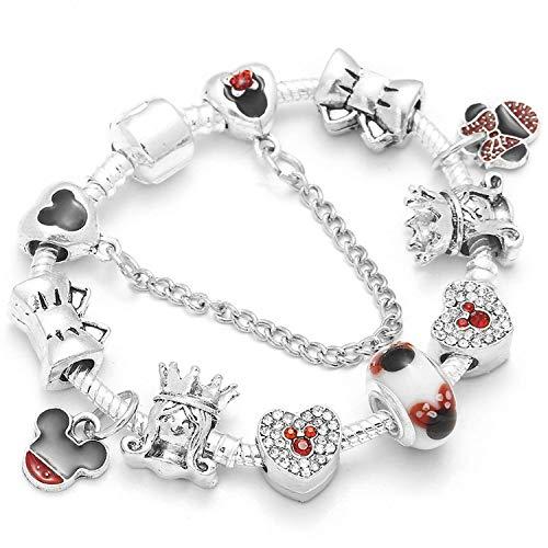 two Silver Snake Chain Charm Bracelet Kids Cute Mickey Minnie Brand Bracelet Women Christmas Jewelry,01,17cm