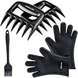 GDEALER Silicone Gloves - Meat Claws - Heat Resistant Grilling Oven Gloves Mitts Set BBQ Cooking Gloves with Meat Shredder and Silicone Basting Brush for Cooking, Grilling, Baking, Barbecue