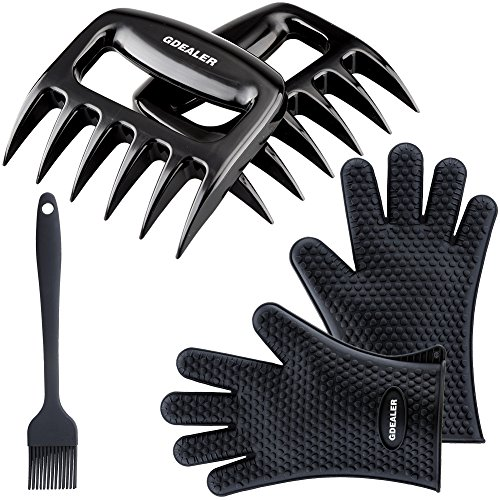 GDEALER Silicone Gloves - Meat Claws - Heat Resistant Grilling Oven Gloves Mitts Set BBQ Cooking Gloves with Meat Shredder and Silicone Basting Brush for Cooking, Grilling, Baking, Barbecue (Cooking Hot Gloves Grill Gloves compare prices)