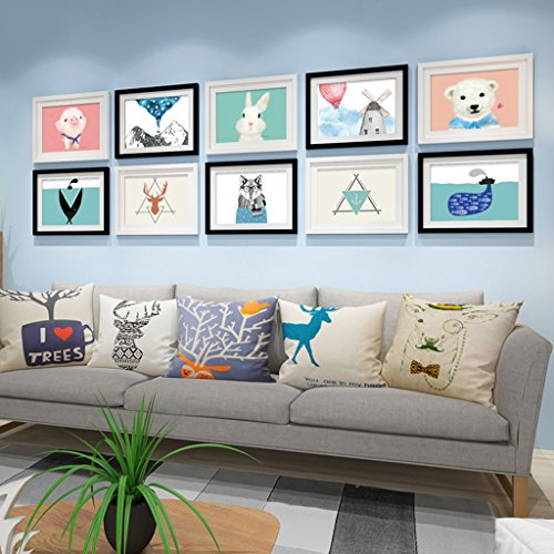 Home@Wall photo frame Photo Gallery Frame Sets Of Wall Fashion Home Decoration With Usable Artwork And Family, Sets Of 10 ( Color : D ) by ZGP