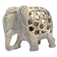 """Souvnear SVN-SG-AGR-014 Soap Mom Tummy Statue/Sculpture-Impossible Stone Art 5"""" Soapstone Collectible Figurine of Mother Elephant with Baby, one size, sand"""