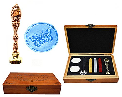 MNYR Butterfly Decorative Luxury Wood Box Rose Gold Metal Peacock Wedding Invitations Gift Card Paper Stationary Envelope Seal Custom Wax Seal Sealing Stamp Wax Stick Melting Spoon Wood Gift Box Kit ()