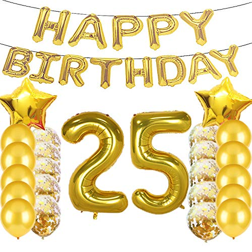 Sweet 25th Birthday Decorations Party Supplies,Gold Number 25 Balloons,25th Foil Mylar Balloons Latex Balloon Decoration,Great 25th Birthday Gifts for Girls,Women,Men,Photo Props ()