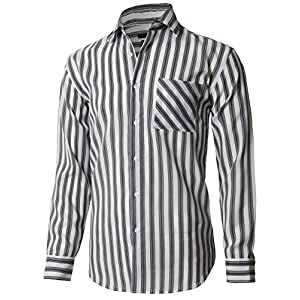 H2H Men's Classic Fit Spread-Collar Sport Shirt With Striped Patterned Gray US L/Asia L (KMTSTL0547)
