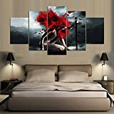 [LARGE] Premium Quality Canvas Printed Wall Art Poster 5 Pieces / 5 Pannel Wall Decor Girl With The Red Hair Painting, Home Decor Pictures - With Wooden Frame