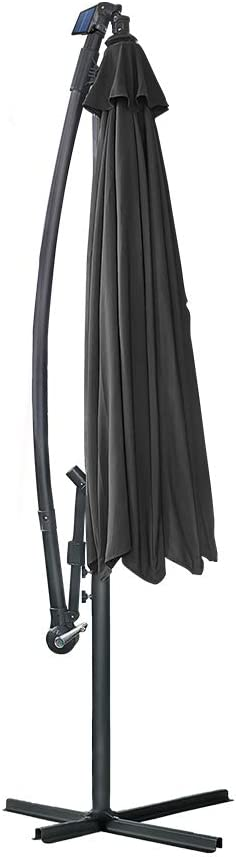 sombrilla con manivela BMOT Parasol de Aluminio de 350 cm de di/ámetro protecci/ón UV 40+ Altura Regulable 8 puntales Revestimiento Impermeable