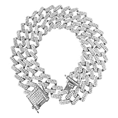 Mens Hip Hop Iced Out Diamond Cuban Link Chain NecklacesThis cz diamond cuban link chain is paved with thousands of brilliant cz diamonds which gave it the most bling bling and iced out look and feel.New designed cuban link of it can perfectl...