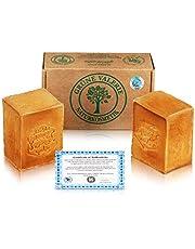 Green Valerie® Original Aleppo zeepset 2 x 200 g (400 g) met 20% / 80% laurierolie / olijfolie, pH-waarde 8 detox, handgemaakt, 6 jaar gerijpt, bekend van de natuurvoedingswinkel!