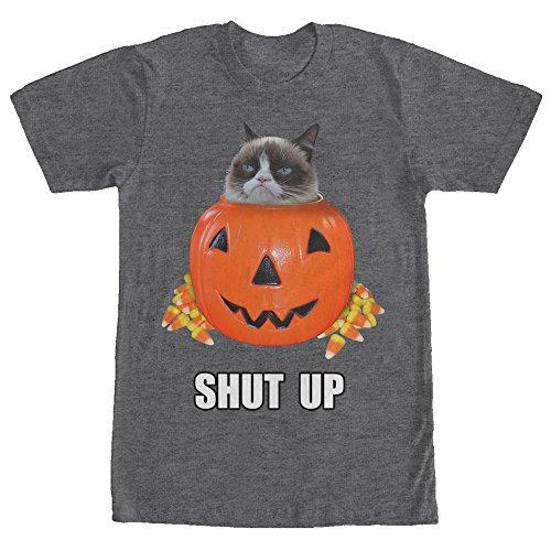 Grumpy Cat Men's Halloween Candy Shut Up Charcoal Heather T-Shirt -
