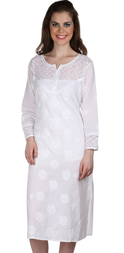 2ed03845143 Ladies Tunic Top Kurti Indian Chikankari Hand Embroidery Women Summer dress  at Amazon Women s Clothing store