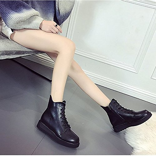 Shoes PU for Casual HSXZ Calf Boots Black ZHZNVX Round Heel Black Flat Women's Boots Toe Winter Combat Mid Boots EqRtH1