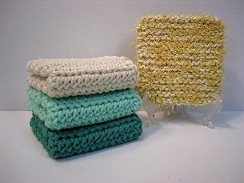 Set of 3 Handmade Crochet Cotton Dishcloths or Washcloths (Deep Sea Green, Shoreline Green and Cream), Plus 1 Dish/Pot Scrub Pad (Yellow)
