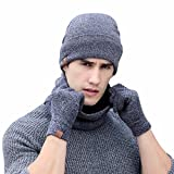 Hat Scarf Gloves Set, Chainsee 3pc Man Women Winter Soft Knit Beanie Hat Ring Scarf Screen Gloves Set