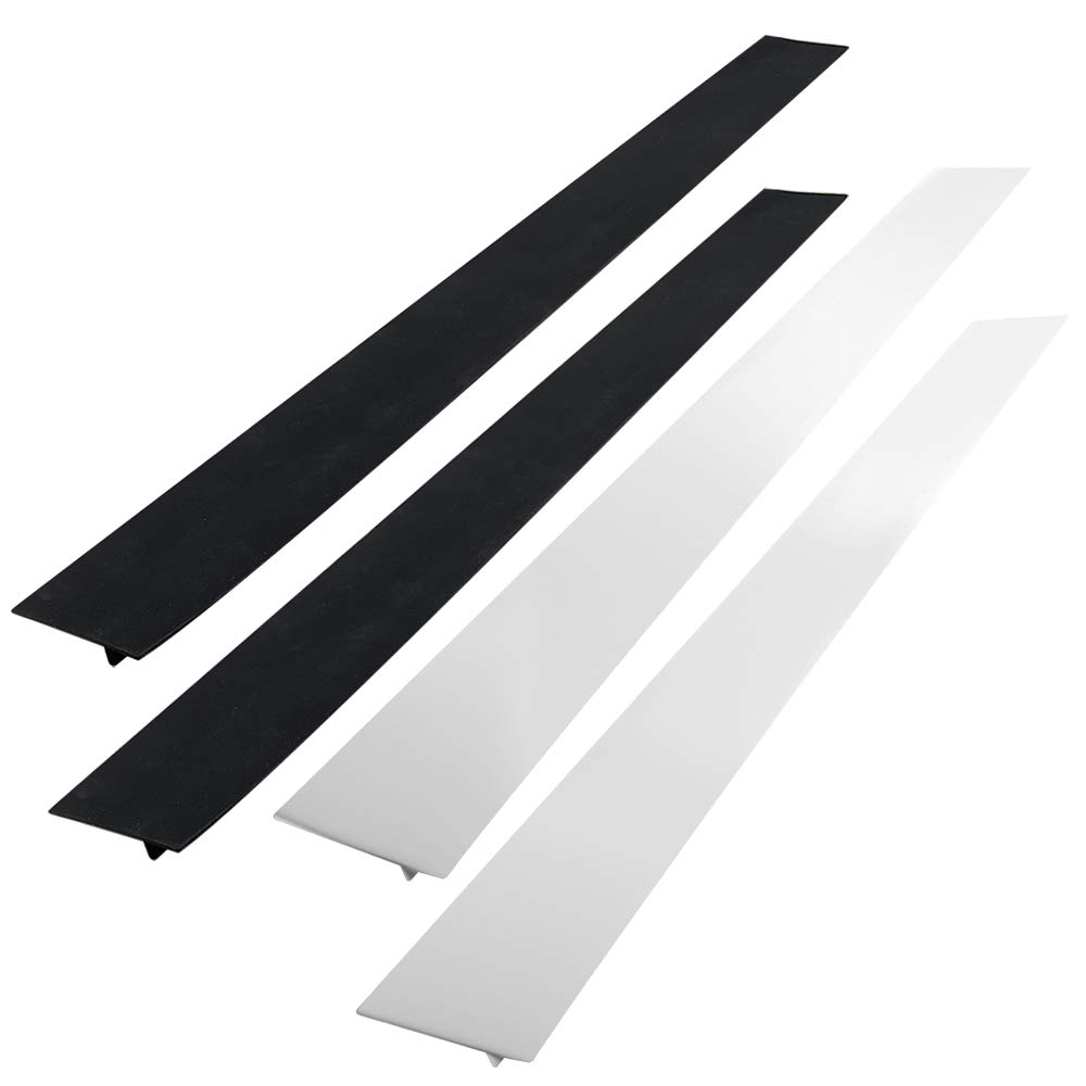 AIFUDA Kitchen Silicone Stove Counter Gap Cover, Long & Wide Gap Filler(Set of 4), Seals Spills Guard for Stovetop, Oven, Washer & Dryer, Heat-Resistant and Easy Clean (Black, white)
