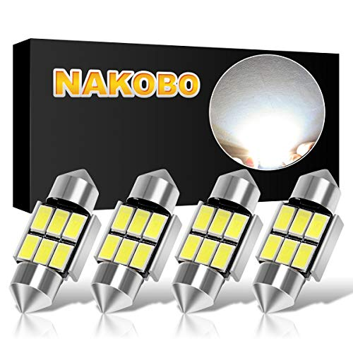 NAKOBO 31mm Festoon Led Bulbs 6000K White Light 6-SMD 5730 Chipsets Canbus Error Free for 3175 DE3175 DE3021 3022 3021 Dome License Plate Door Lights Pack of 4