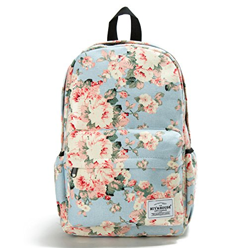 Colorful Floral Printed School Backpack For Girls Canvas Design Women Backpack Casual Female Travel Rucksack ()