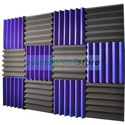2x12x12 (12 Pack) ROYAL PURPLE/CHARCOAL Acoustic Wedge Soundproofing Studio Foam Tiles