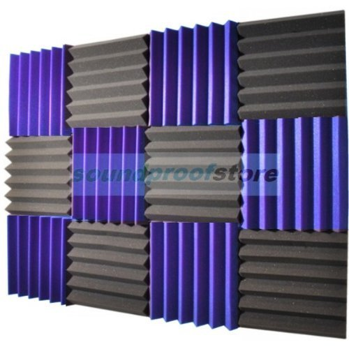 2x12x12 (12 Pack) ROYAL PURPLE/CHARCOAL Acoustic Wedge Soundproofing Studio Foam Tiles ()