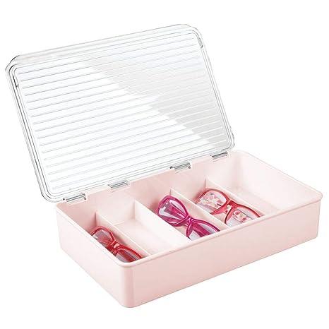 mDesign Cajas para gafas de sol – Clasificador de plástico con 5 compartimentos – Organizador de armarios para guardar todo tipo de gafas – rosa claro ...