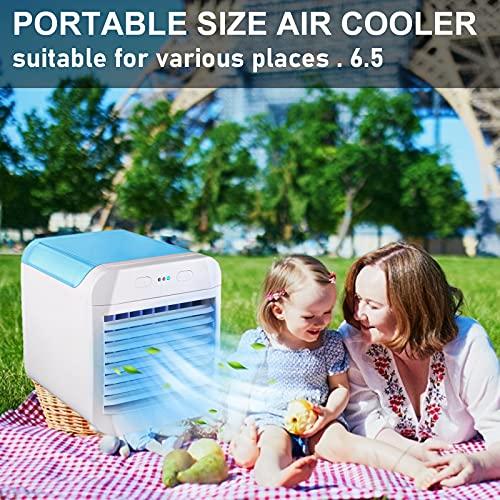 Mini Refrigerador De Aire Aire Acondicionado Portátil, Usb Pequeño Refrigerador De Aire Pequeño Aire Acondicionado De Cristal De Hielo (Blue)