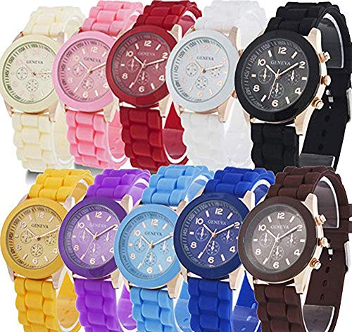 (Weicam Wholesale 10 Pack Men Women Girl Silicone Band Watch Set Analog Quartz Jelly Colorful Wristwatch)