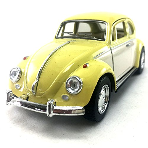 KiNSMART 1967 Volkswagen VW Classic Beetle Bug 2 Tone Color Yellow/White 1:32 DieCast Model Toy Car Collectible Hobby Collection