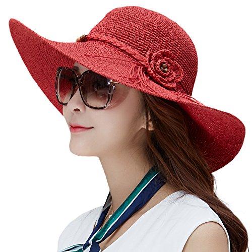 Siggi Floppy Summer Sun Beach Straw Hats UV50 Crushable Wide Brim Sunhat for Women 56-59cm Red