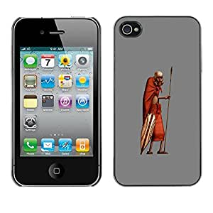 Caucho caso de Shell duro de la cubierta de accesorios de protección BY RAYDREAMMM - Apple iPhone 4 / 4S - African Man Masai Bushman 3D