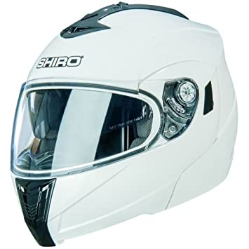 Casco integral modular SHIRO SH-839-Casco para moto doble pantalla, color blanco