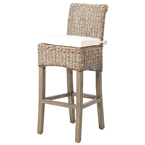 Sisson Coastal Beach Woven Banana Leaf Wood Counter - Leaf Bar Banana Stool
