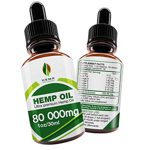 (Hemp Oil Drops 80000mg, 100% Natural Extract, Anti-Anxiety and Anti-Stress, Natural Dietary Supplement, Rich in Omega 3 & 6 Fatty Acids for Skin & Heart Health,Vegan Friendly)