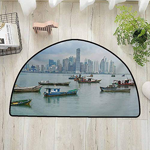 Xlcsomf Decorative Half Round Door mat Landscape Protective Floor Anchored Fishing Boats Skyscrapers Panama Cityscape Pacific Coast Central America,W31 x L47 Multicolor