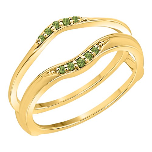 Gems and Jewels Women's 14k Gold Finish 1/10 Ct Created Green Tourmaline Enhancer Ring Guard