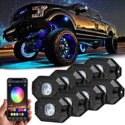 8 pc RGB LED Rock Lights Multicolor Neon LED Light Kit w/Bluetooth Controller, Timing, Flashing, Music Mode for Underglow Off Road Truck SUV - 8 Pods: Automotive