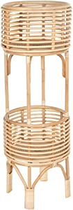 KOUBOO Rattan Indoor Two-Tier Plant Stand, Natural Planter, Large, Brown