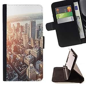 BullDog Case - FOR/Samsung Galaxy Note 4 IV / - / city skyline Boston sunset architecture /- Monedero de cuero de la PU Llevar cubierta de la caja con el ID Credit Card Slots Flip funda de cuer