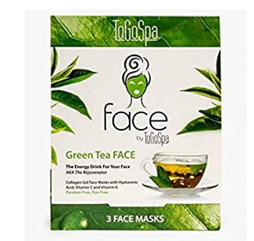 Green Tea FACE Anti-Aging Mask by ToGoSpa - Collagen Gel Masks with Hyaluronic Acid, Vitamins C & E Will Moisturize, Hydrate, Tighten, Lift, Firm, Brighten & Smooth your FACE – 1 Packs – 3 Masks